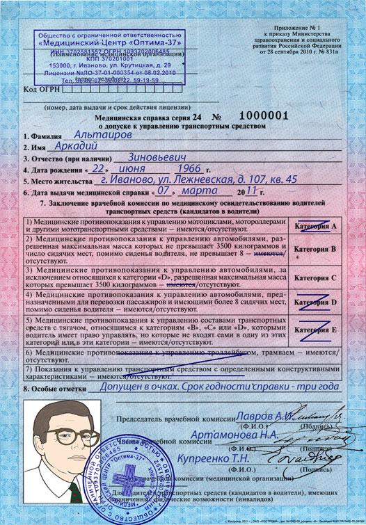 Сделать справку на водительское удостоверение в Москве Строгино